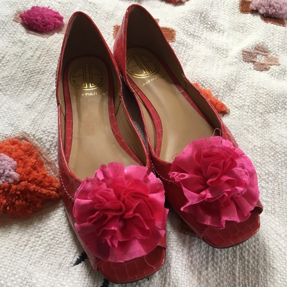 Lilly Pulitzer Shoes - Lilly Pulitzer patent pom pom flats